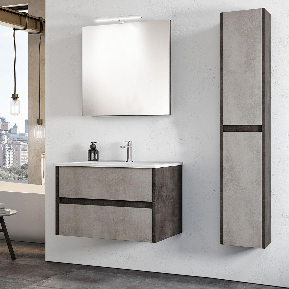 Armadietto Bagno Moderno mobile bagno sospeso cemento grace 1.80 - bagni e pavimenti