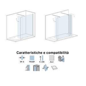Paraschizzi Doccia mobile in Cristallo Cm 30 per Walk In Crystal 2.1