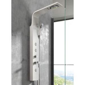 Pannello doccia alluminio bianco ambra