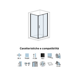 Parete Doccia Fissa in Cristallo Cm 70 Per Porta Doccia Battente Black Series Dx