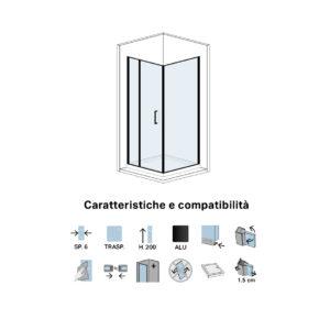 Parete Doccia Fissa in Cristallo Cm 70 Per Porta Doccia Battente Black Series Sx