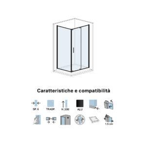 Parete Doccia Fissa in Cristallo Cm 80 Per Porta Doccia Battente Black Series Dx