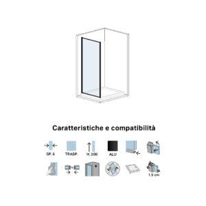 Parete Doccia Fissa in Cristallo Cm 70 Per Porta Doccia Scorrevole Black Series