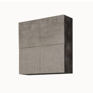 Pensile Sospeso Cemento Scuro / Cemento Chiaro 4 Cubi Con Ante