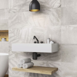 Rivestimento Effetto Cemento Decoro Leaves Bianco Grigio Beton Wall 30×90